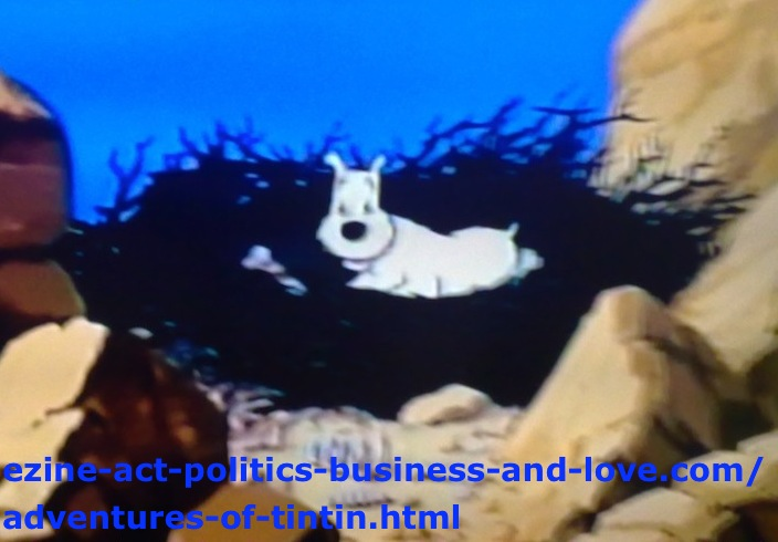 Adventures of Tintin: Snowy (Milou) on the Nest of the Black Eagle.