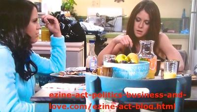 Melissa Sanders (Ashley Holliday) While Taking Her Breakfast with Loren Tate (Brittany Underwood) at Nora Tate's Home.