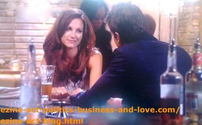 Love in Hollywood Heights - Nora Tate (Jama Williamson) and Max Duran (Carlos Ponce) Chatting.
