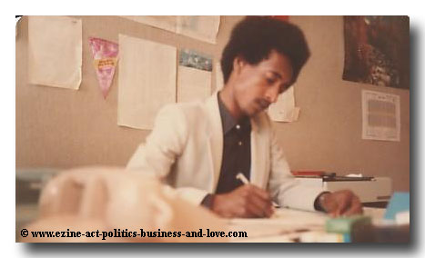 ormal Measures of Intelligence: Journalist Khalid Osman at his Office in Al-Watan Newspaper, Kuwait 1980s.