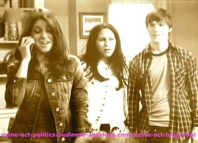 Loren Tate (Brittany Underwood), Melissa Sanders (Ashley Holliday) and Adam (Nick Krause) in Hollywood Heights.