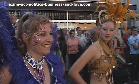 Salsa Samba Dances: Samba girls during the samba dance interval in Aarhus, Denmark.