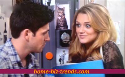Same Gender Love: Adriana Masters (Haley King) seducing Phil Sanders (Robert Adamson) in Hollywood Heights.