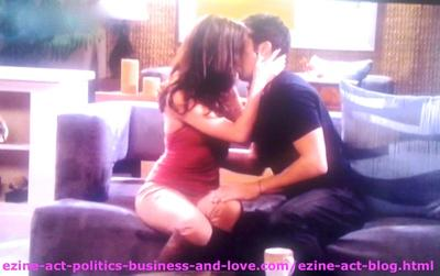 Eddie Duran (Cody Longo) and Loren Tate (Brittany Underwood) Kissing in Hollywood Heights.