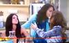 Loren Tate (Brittany Underwood) and Melissa Sanders (Ashley Holliday) Kissing Nora Tate (Jama Williamson) Farewell.