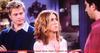 Love in the TV Comedy Series, Friends. Jennifer Aniston (Rachel Green) talks to David Schwimmer (Ross) and her ex-husband Brad Pitt listens.