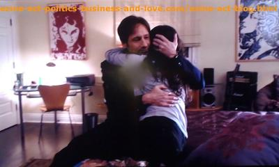 Hank Moody (David Duchovny) Hugging his Beloved Daughter Becca (Madeleine Martin) in the TV Series, Californication.