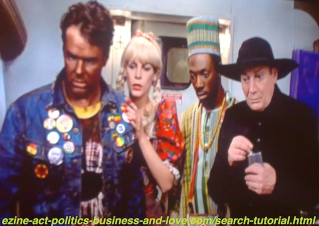 Search Tutorial, Eddie Murphy, Dan Aykroyd, Jamie Lee Curtis and Denholm Elliott in Trading Places