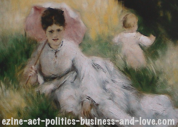 Ezine Acts Art Stores: Woman with Parasol and Child, 1874-1876, Pierre Auguste Renoir.