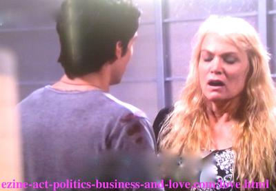 Jackie Kowalski (Daphne Ashbrook) Chloe's mother telling her daughter's ex-boyfriend Tyler Rorke (Justin Wilczynski) that Chloe Carter - Cynthia Kowalski - (Melissa Ordway) wants Eddie Duran (Cody Longo) to breakup with Loren Tate (Brittany Underwood) in Hollywood Heights.