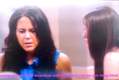 Melissa Sanders (Ashley Holliday) Feeling Pain and Sorrow While Telling her Best Friend Loren Tate (Brittany Underwood) about her Real Mother.