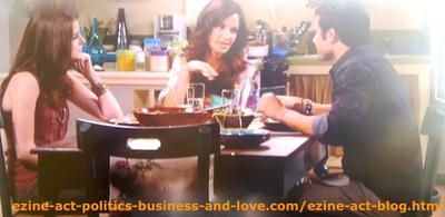 Eddie Duran (Cody Longo) Enjoying Love Around with Loren Tate (Brittany Underwood) and Her Mom Nora Tate (Jama Williamson) at their Home in Hollywood Heights.