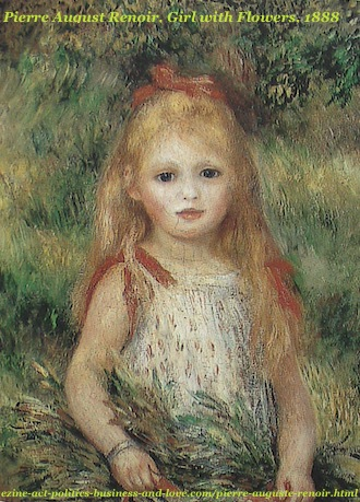 French Painter, Pierre Auguste Renoir, Girl with Flowers, 1888